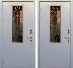 металлические двери порошковое напыление со стеклопакетом