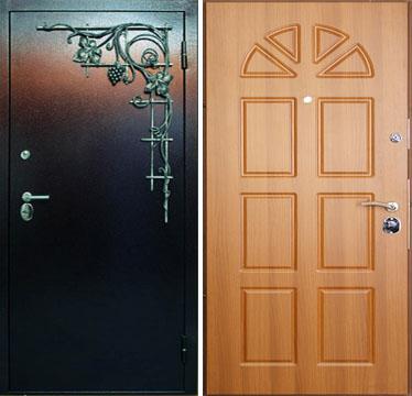 железные двери порошковое напылением и ковкой