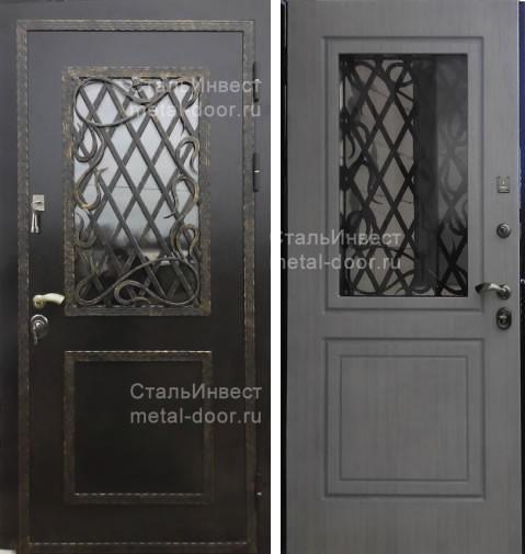 металлические двери с напыление и стеклопакетом